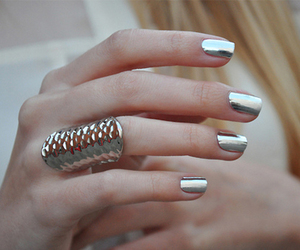 nails, silver, and ring image