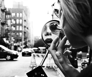 black and white, mirror, and city image