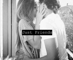 black and white, couple, and just friends image