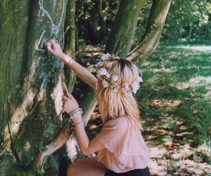 girl, flowers, and tree image