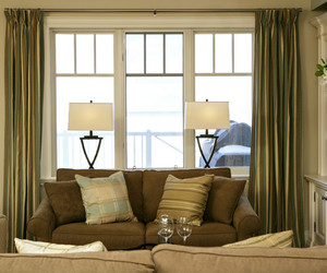 bedroom., large shades, and pendant lamps image
