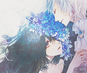 anime, flowers, and blue image