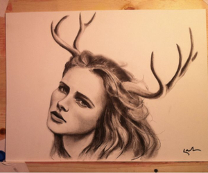 antlers, art, and charcoal image