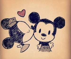 drawing, mickey mouse, and minnie mouse image