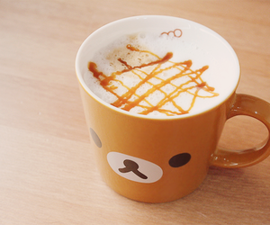 rilakkuma, kawaii, and coffee image