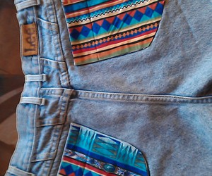 crazy, jean shorts, and pattern image