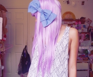 bow, girl, and purple hair image