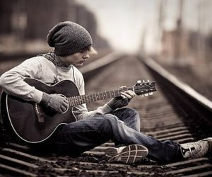 boy, guitar, and music image