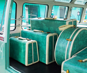 turquoise, vintage, and luggage image