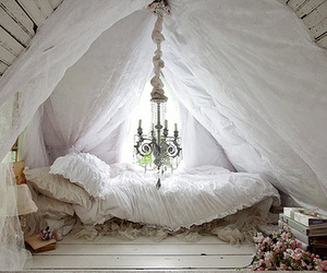 attic, curtain, and vintage image