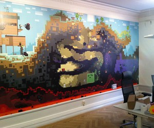 mural, wall, and minecraft image