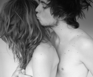 black and white, kiss, and boy and girl image