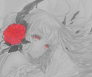 anime, horns, and rose image