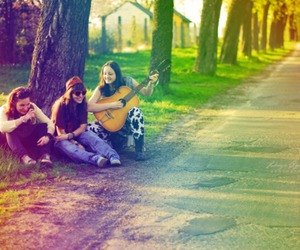 friends, girl, and music image
