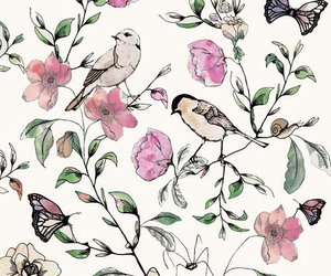 birds, flowers, and wallpaper image