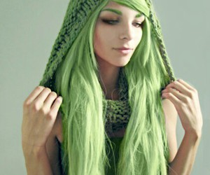 green hair, pretty, and crazy color image