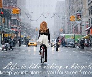 girl, snow, and bike image