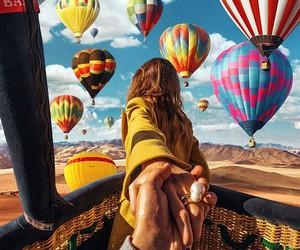 couple, travel, and balloons image