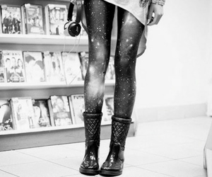 black and white, girl, and boots image