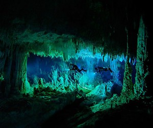 underwater, cave, and nature image