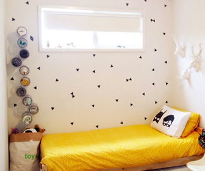 bedroom, white, and yellow image