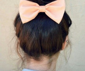bow, brunette, and bun image
