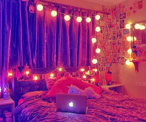 room, light, and bed image