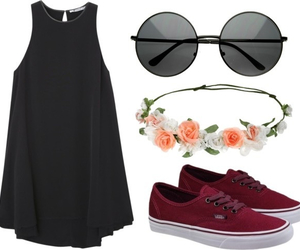 black, dress, and flowers image