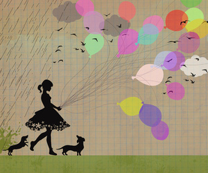 baloons, dogs, and girl image