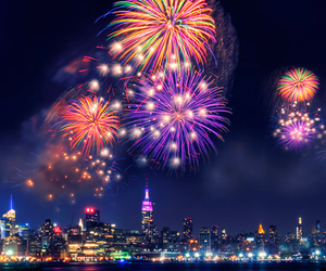 fireworks, city, and night image