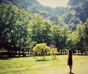 girl, mountain, and trees image