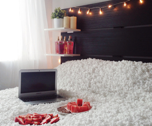 bed, cozy, and foodporn image