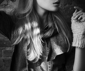 beauty, black and white, and denim image