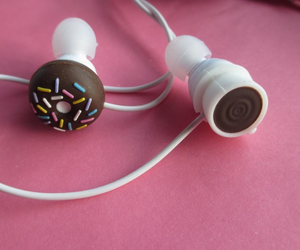 coffee, earbuds, and cute image