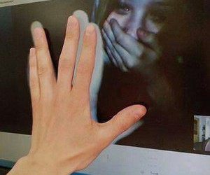 boy, hands, and tears image