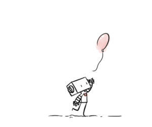 cute, balloon, and robot image