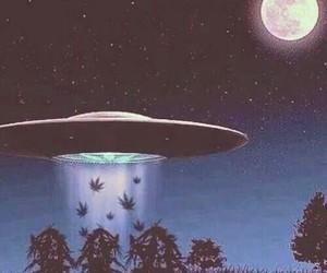 weed, alien, and marijuana image
