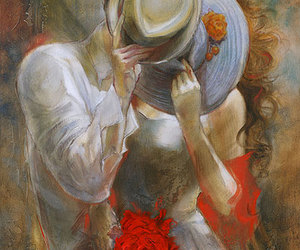 couple, hat, and kiss image