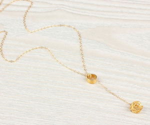bridesmaid gift, knot necklace, and circle necklace image