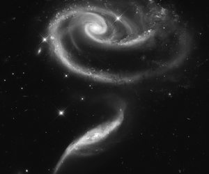 black, galaxy, and black and white image