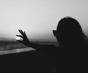 black and white, girl, and sunset image