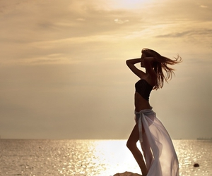 beach, pretty, and girl image