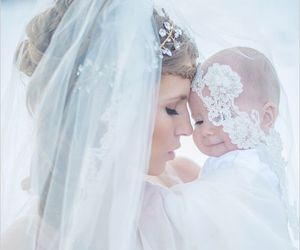 baby, wedding, and bride image