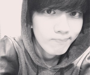 black and white, korean, and youngjae image