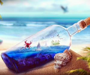 bottle, crab, and beach image