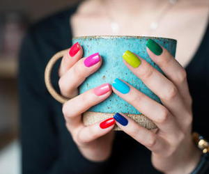 nails, colorful, and blue image