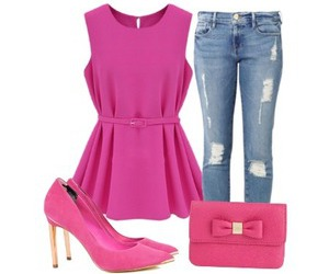 blouse, bow, and heels image