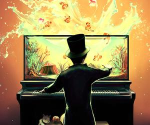 piano, fish, and art image