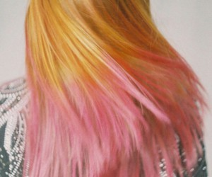dyed hair, orange hair, and pink hair image