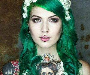 beautiful hair and green hair image